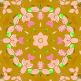 Floral circle ornament blossoms and leaves pink violet green on ocher brown. Abstract geometric seamless background. Floral circle ornament with blossoms and Royalty Free Stock Photos