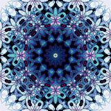 Floral circle ornament blue turquoise purple black. Abstract geometric seamless background. Ornate floral circle ornament in blue and turquoise shades and with Royalty Free Stock Images