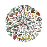 Floral circle ornament, hand drawn sketch for your design Stock Images