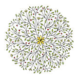 Floral circle ornament, hand drawn sketch for your design Royalty Free Stock Photos