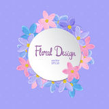 Floral circle vector frame Royalty Free Stock Image
