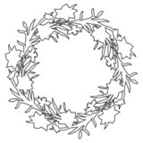 Floral circle wreath border with countour hand drawn flowers narcissus. stock image