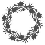 Floral circle wreath with hand drawn flowers daffodils, narcissus stock photography