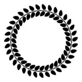 Floral circle Wreath of leaves Round floral frames Floral border icon black color vector illustration flat style image. Floral circle Wreath of leaves Round stock illustration