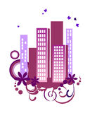 Floral city. Vector illustration of floral elements and a city Royalty Free Stock Photography