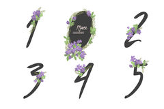 Floral clematis collection numbers in vintage color. One, two, three, four, five - signs Stock Images