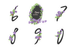 Floral clematis collection numbers in vintage color. Six, seven, eight, nine, zero- signs Stock Photography