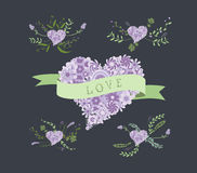 Floral Clip Art. Floral heart Elements Stock Images