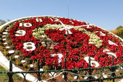 Floral clock in Mexico. Magical town and world heritage site. The floral clock is the main emblem that adorns the heart of Zacatlán. It was built by royalty free stock photos