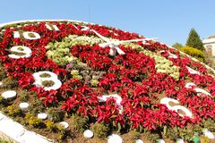 Floral clock in Mexico. Magical town and world heritage site. The floral clock is the main emblem that adorns the heart of Zacatlán. It was built by stock images