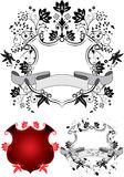 Floral coat of arms, vector Stock Images