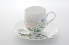 Floral coffee cup. Royalty Free Stock Photo