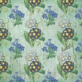 Floral Collage Paper - Blue Green Distressed Chipped Paint - Shabby Chic Background royalty free illustration