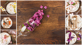 Floral collage: Tableware and silverware with different summer flowers. On the wooden background, top view Royalty Free Stock Photo