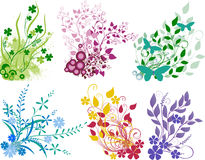 Floral collection. Six colored floral elements for design with flowers, butterflies and leaves Royalty Free Stock Photo