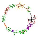 Floral coloré circulaire de croquis d'aspiration de main divers pour la conception d'élément, le calibre, le laurier, le qoute, l illustration libre de droits