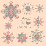Floral colored design elements Stock Photo
