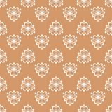 Floral colored seamless pattern. Brown and white background with fower elements for wallpapers.  Royalty Free Stock Photography