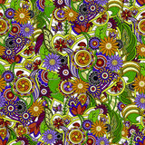 Floral colorful background. Seamless texture with flowers and gr Royalty Free Stock Photography