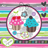 Floral and colorful cupcake  illustration Stock Image