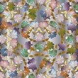 Floral colorful 3d seamless pattern. Vector light background wal. Lpaper with vintage summer flowers, swirl leaves, curves, lines, elegance ornaments. Luxury Stock Image