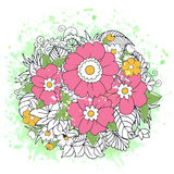Floral colorful doodle composition on green watercolor background Royalty Free Stock Images