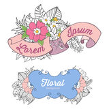 Floral colorful doodle compositions with banner and floral elements Royalty Free Stock Photo