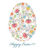 Floral colorful easter egg on white background Stock Images