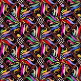 Floral colorful ethnic style embroidery seamless pattern. Bright. Abctract geometric background. Multicolor tapestry flowers, rhombus, frames, vintage ornaments Stock Photos