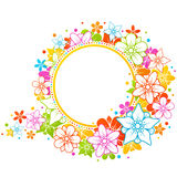 Floral colorful frame. Floral colorful round frame on the white background Royalty Free Stock Photography