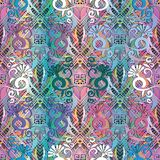 Floral colorful greek 3d seamless pattern. Vector grunge beautif Royalty Free Stock Images