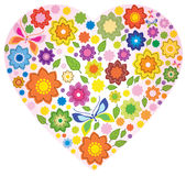 Floral colorful Heart and butterfly. Over white Royalty Free Stock Image