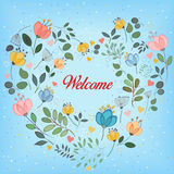 Floral colorful heart with text Welcome Stock Photography