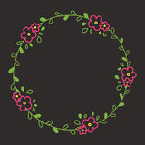Floral colorful line wreath or circle frame with pink blooms. And leafs Stock Photos