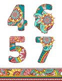 Floral colorful numbers set. Vector illustration. Stock Photography