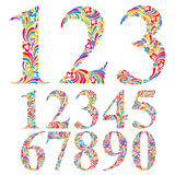 Floral colorful numbers set. Royalty Free Stock Photo