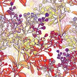 Floral Colorful Seamless Background with Branches Stock Images