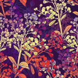 Floral Colorful Seamless Background with Branches Royalty Free Stock Photos