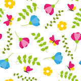 Floral colorful seamless pattern with leafs, blossoms and butterflies spring concept Royalty Free Stock Images