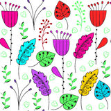 Floral colorful seamless pattern and seamless pattern in swatch Stock Photography