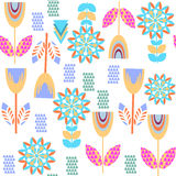 Floral colorful  seamless pattern and seamless pattern in swatch Royalty Free Stock Photos