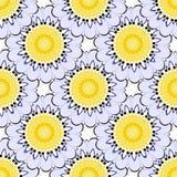 Floral colorful tiled round mandalas vector seamless pattern. Ornamental elegance flowery background. Flourish decorative repeat. Backdrop. Beautiful flowers stock illustration