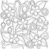 Floral coloring page. Monochrome floral coloring page fabric decor or background. Vector illustration Stock Photo