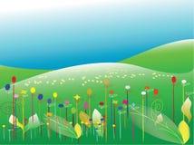 Floral com fundo da paisagem foto de stock