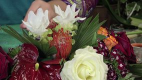 Floral composition of a center table stock footage