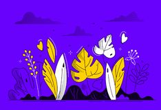 Floral composition - modern flat design style illustration. On purple background. High quality images of beautiful leaves, plants, grass, butterflies, clouds vector illustration