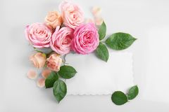 Floral composition with paper card Stock Photos