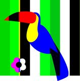 Floral composition toucan on greenery with flower stock illustration