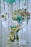 Floral composition. Wedding decorations with flowers, beads Royalty Free Stock Image