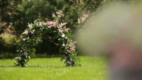 Floral composition for a wedding or special event, focus transition stock video footage